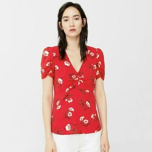 NWOT Red Floral Tea Blouse